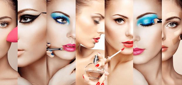 Koláž ženských tvárí a kozmetiky